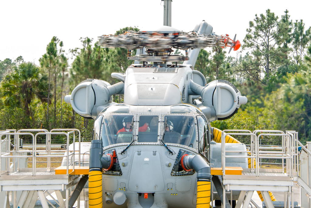 Sikorsky powered 'on' the three GE 7,500 shaft horsepower class engines of the first CH-53K heavy lift helicopter prototype, and spun the rotor head without rotor blades