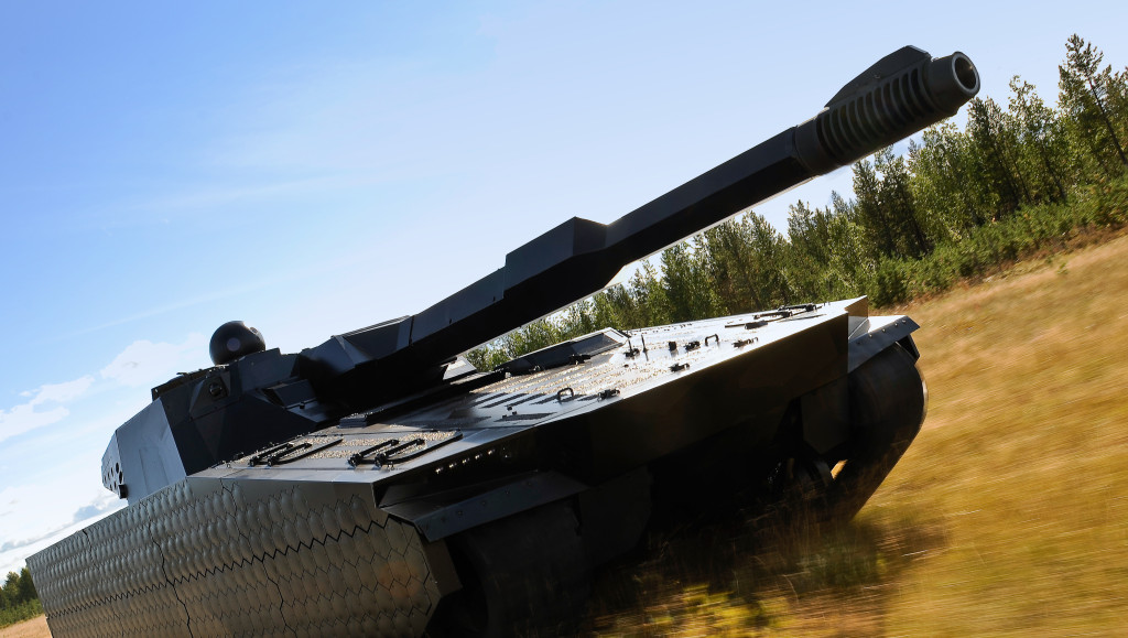 The CV90120 is also equipped with a modern 120-mm anti-tank gun and adaptive armour