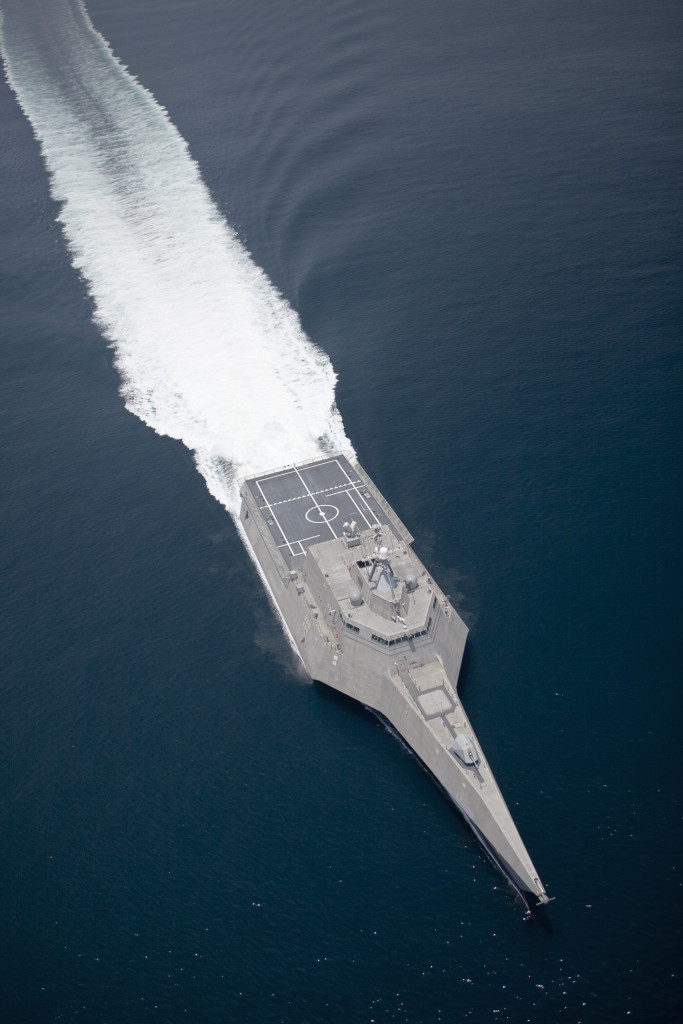 The littoral combat ship Independence (LCS 2) underway during builder's trials