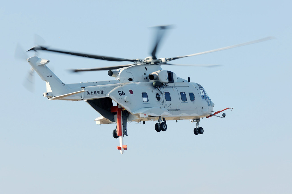 The MCH-101 which has just been delivered to the Japan Maritime Self Defense Force is a variant of the AgustaWestland AW101, and the only modern helicopter capable of carrying Northrop's airborne minehunting suite, visible here in place of its rear ramp (AW photo)