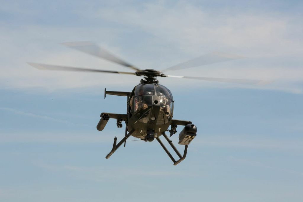 The MD 530G Scout Attack helicopter is a fully integrated gunship with a highly capable, customizable mission equipment package