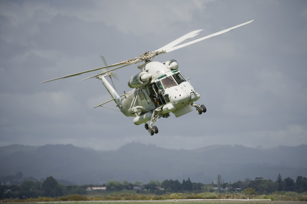Navy Seasprite helicopter landing at Tauranga Airport