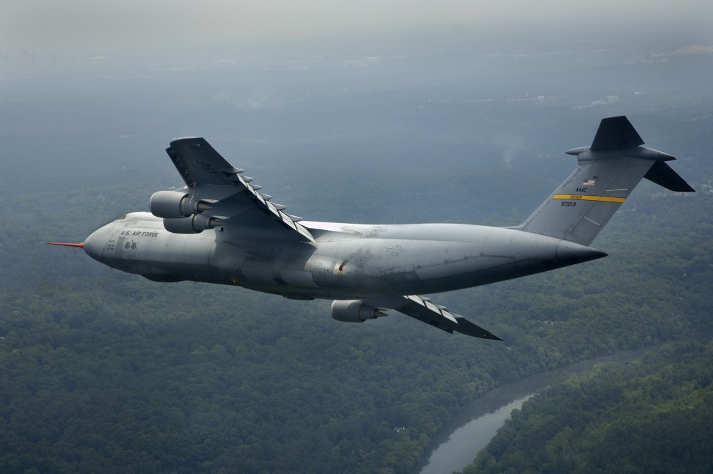 The C-5M flies during its First Flight ceremony at Lockheed Martin's Marietta, Georgia plant