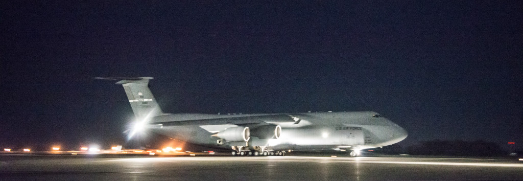 A C-5M Super Galaxy from the 22nd Airlift Squadron takes off from Travis Air Force Base, California, early April 3, 2015. The flight, which lasted approximately one hour, claimed 45 aeronautical records, positioning the U.S. military's largest airframe as the world's top aviation record holder with a total of 86 world records (U.S. Air Force photo/Ken Wright)