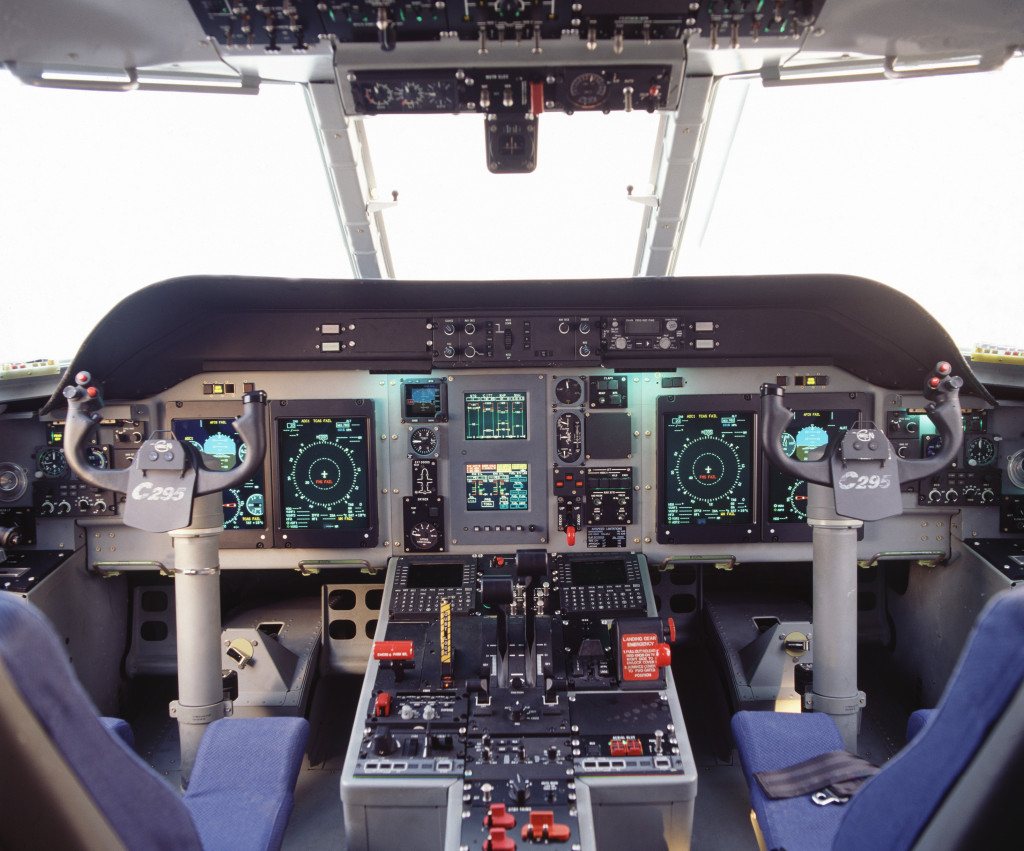 The C295 glass cockpit with digital avionics includes four large active matrix liquid crystal displays (6'' × 8''), fully compatible with night vision goggles