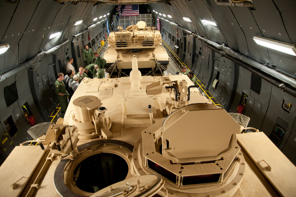 Two M-1 Abrams tanks loaded into the cargo area of the C-5M Super Galaxy (U.S. Air Force photo by Lieutenant Colonel Chad Gibson)