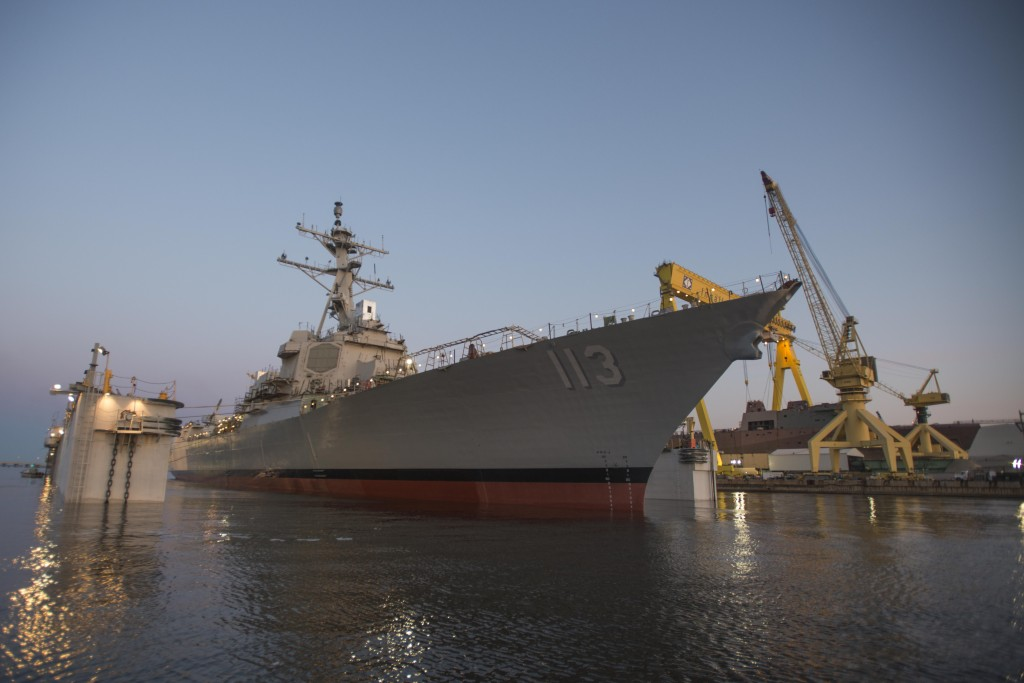 Ingalls Shipbuilding launched the Arleigh Burke-class Aegis guided missile destroyer John Finn (DDG-113) on Saturday morning (Photo by Andrew Young/HII)