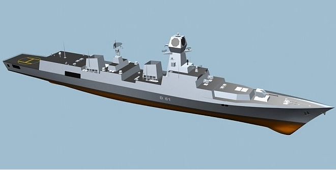 Vishakhapatnam 's key differences from the Project 15A class include the relocation of its sonar to the bow from the hull; the design of its mast, which houses its main radar, has also been revised to further reduce its radar cross section