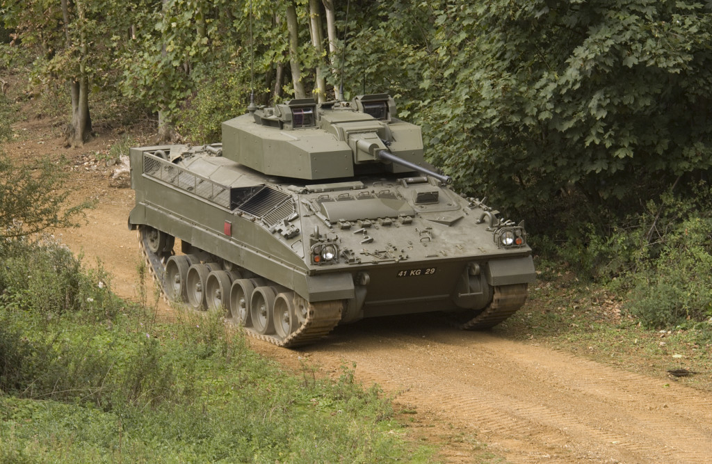 Warrior Infantry Fighting Vehicle is the first to be armed with the French-UK 40-mm auto cannon firing caseless rounds (Lockheed photo)
