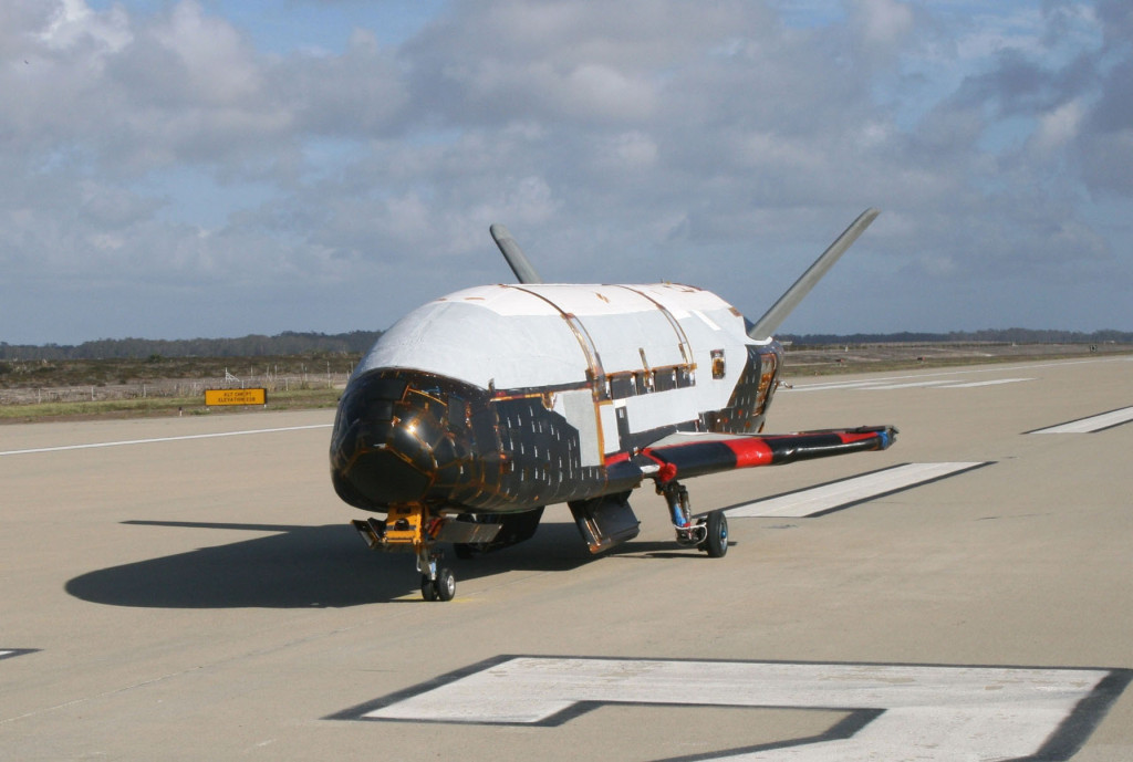 In a testing procedure, the X-37B Orbital Test Vehicle taxis on the flightline in June 2009 at Vandenberg Air Force Base, California (Courtesy photo)