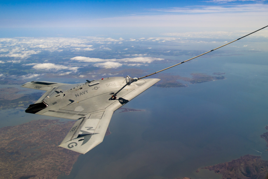 X-47B successfully completes the first autonomous aerial refueling demonstration over the Chesapeake bay on April 22 (Photo courtesy of U.S. Navy)