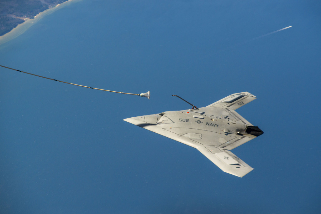 X-47B prepares to engage with an Omega K-707 tanker drogue and complete the first autonomous aerial refueling demonstration over the Chesapeake bay on April 22 (Photo courtesy of U.S. Navy)
