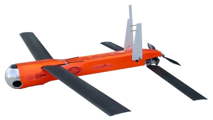 Coyote UAV can carry either an electro-optical (EO) or infrared (IR) camera and data transmitter (Length: 0.91 m; Wingspan: 1.47 m; Maximum Takeoff Weight: 5.9 kg; Endurance: 1 h; Ceiling: 6,096 m; Payload: 0.9 kg)