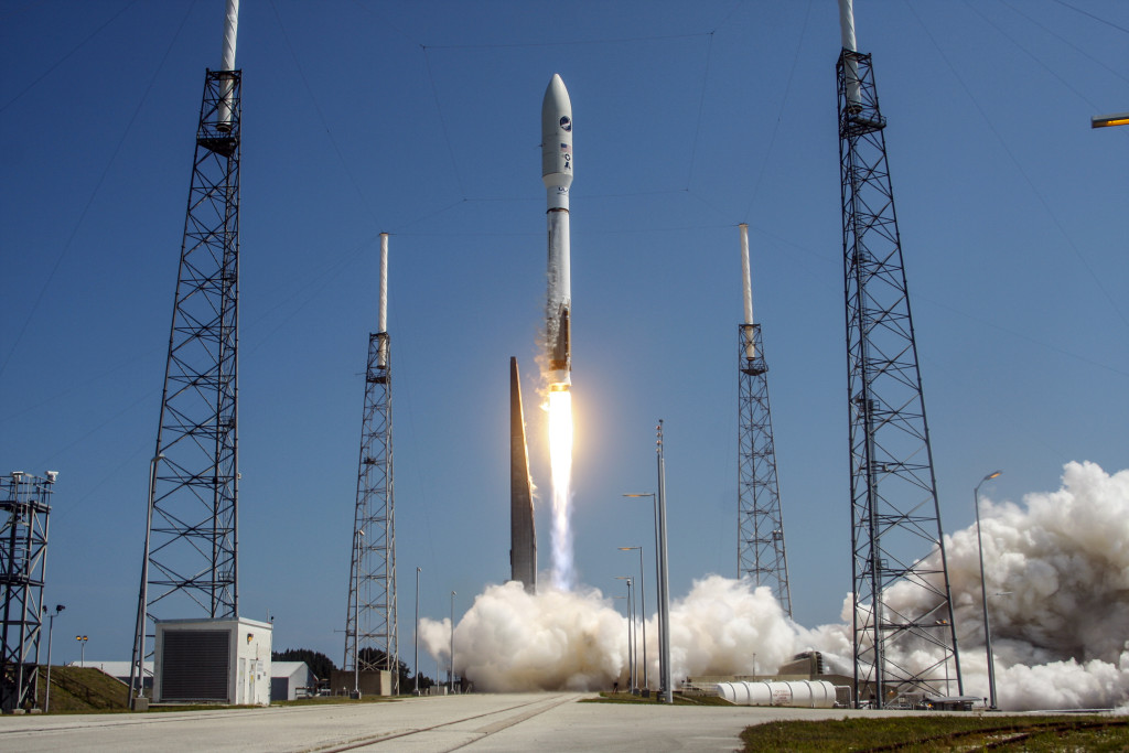 A United Launch Alliance (ULA) Atlas V rocket successfully launched the AFSPC-5 satellite for the U.S. Air Force from Space Launch Complex-41. This is ULA's fifth launch in 2015 and the 96th successful launch since the company was formed in December 2006
