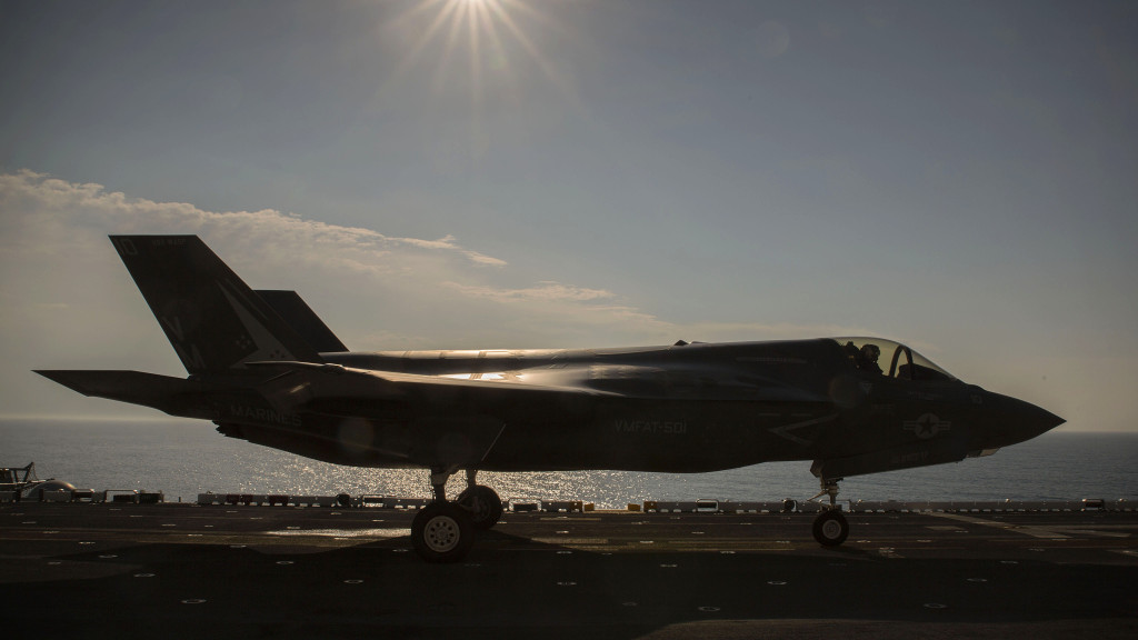 An F-35B Lightning II Joint Strike Fighter idles on the flight deck of the USS Wasp (LHD-1) in preparation for take-off, May 18, 2015 (U.S. Marine Corps photo by Lance Cpl. Remington Hall/Released)