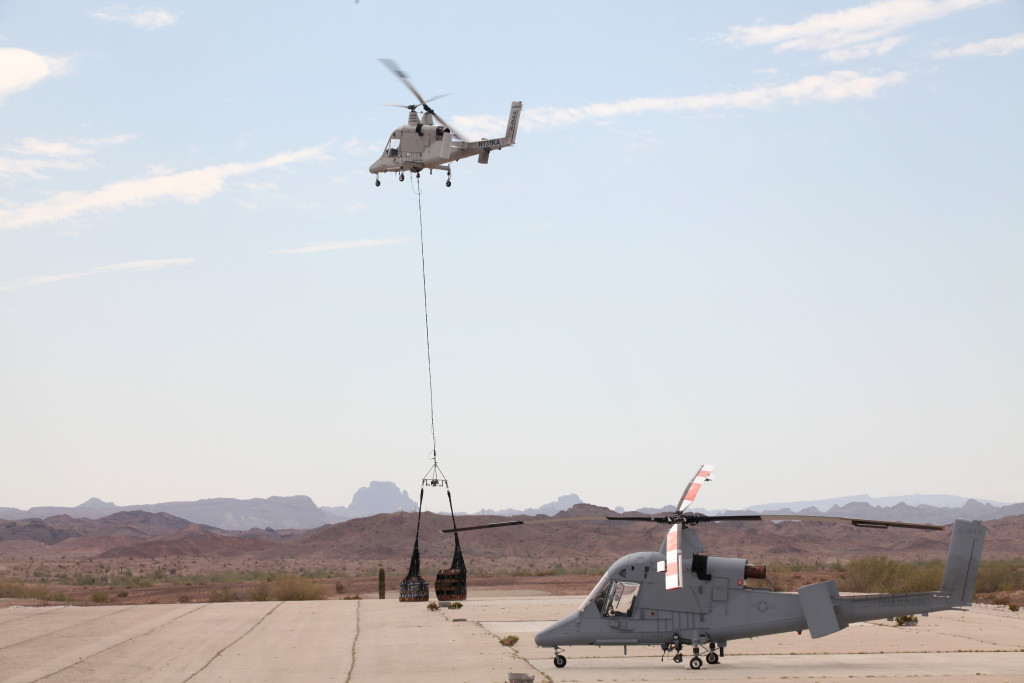 Portable antennae for line-ofsight and satellite-based beyond line-of-sight data links maintain continuous connectivity with the unmanned K-MAX anywhere in the world