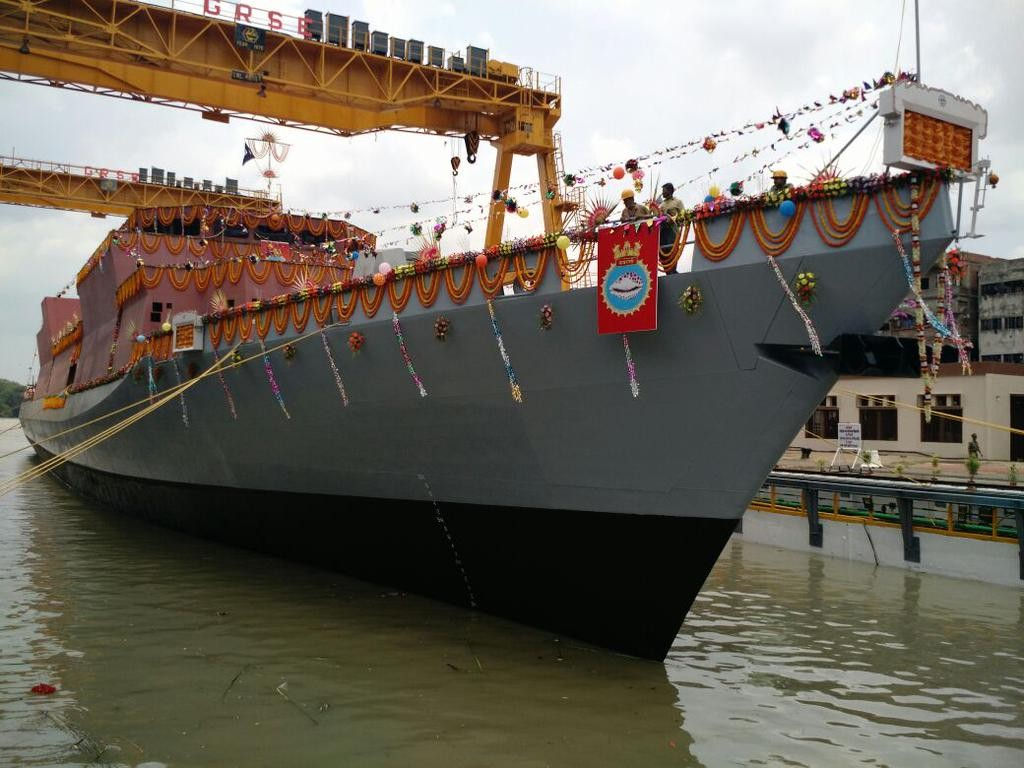 The future INS Kavaratti, an anti-submarine warfare corvette displacing 3,300 tonnes, was launched today at the Garden Reach Shipbuilders and Engineers Ltd shipyard in Kolkata (India MoD photo)