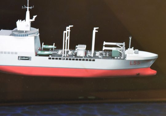 Fincantieri's Logistic Support Ship (LSS) concept (Photo: Christopher P. Cavas/staff)