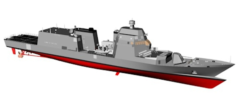 Artist's impression of a Pattugliatore Polivalente d'Altura, a hybrid design combining the attributes of an Offshore Patrol Vessel (OPV) with those of a multipurpose frigate into the same vessel. (Fincantieri image)