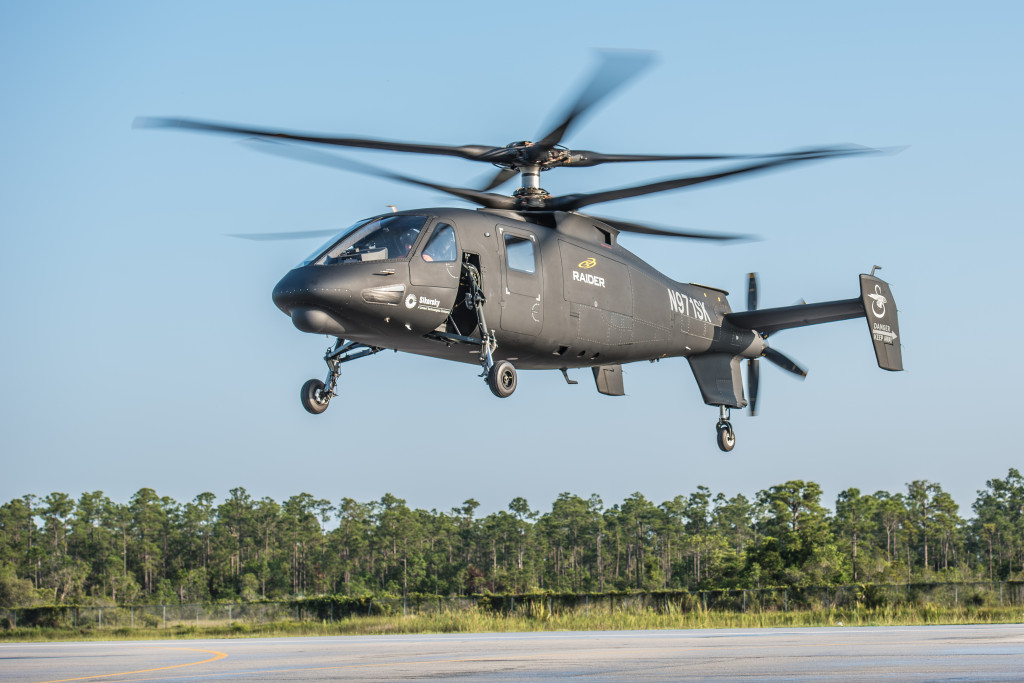 Sikorsky's S-97 Raider, the company's latest military design, during its maiden flight on May 22