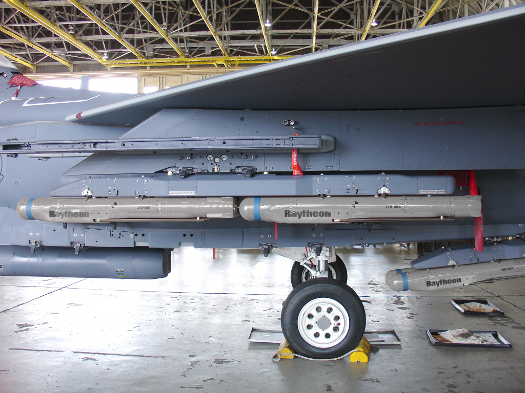 Locked and loaded, the F-15E fighter aircraft can carry seven groups of four Small Diameter Bomb IIs, for a total of 28 weapons