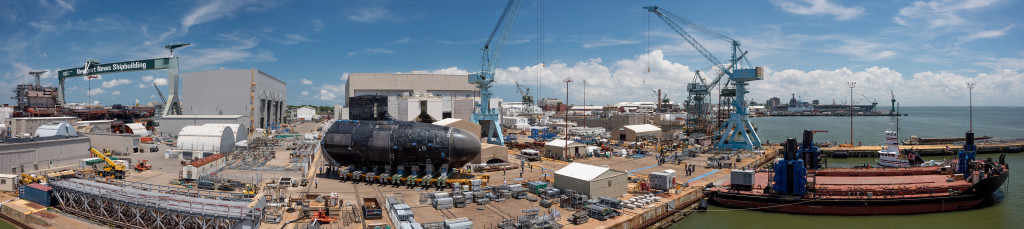 A panorama of the shipyard shows the bow unit of Illinois (SSN-786) being moved to the sea shuttle (right) June 24, 2014. Illinois is being delivered to the Navy by General Dynamics Electric Boat (Photo by Chris Oxley/HII)