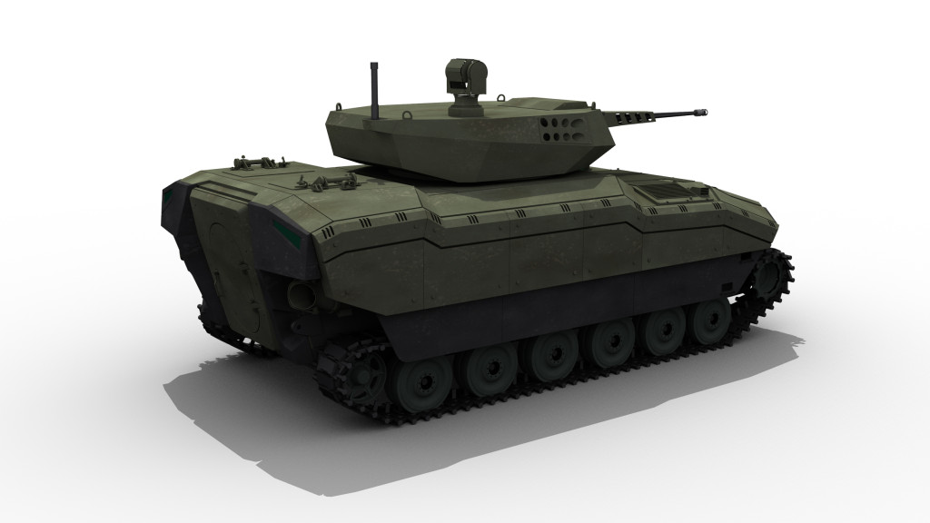 In addition up to date electronic subsystems are also integrated together with high performance power pack, heavy duty suspension and tracks which enables the vehicle to carry heavy loads such as 105-mm gun systems