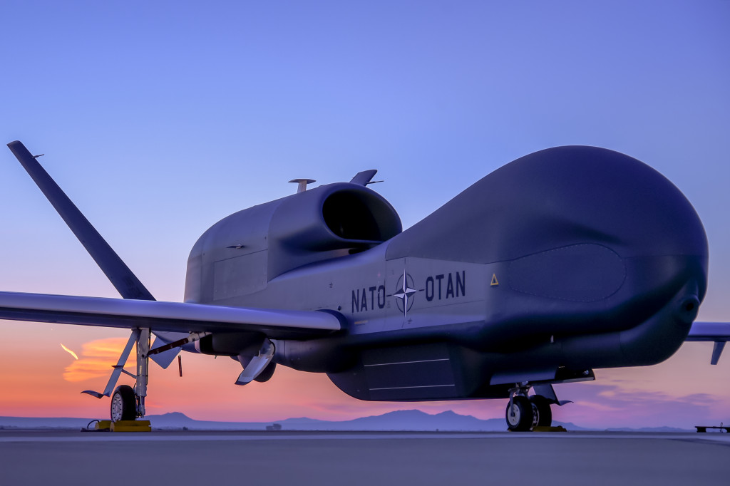Northrop Grumman, the North Atlantic Treaty Organization (NATO) officials and industry team representatives unveiled the first NATO Alliance Ground Surveillance (AGS) aircraft in Palmdale, California (Photo courtesy of Northrop Grumman)