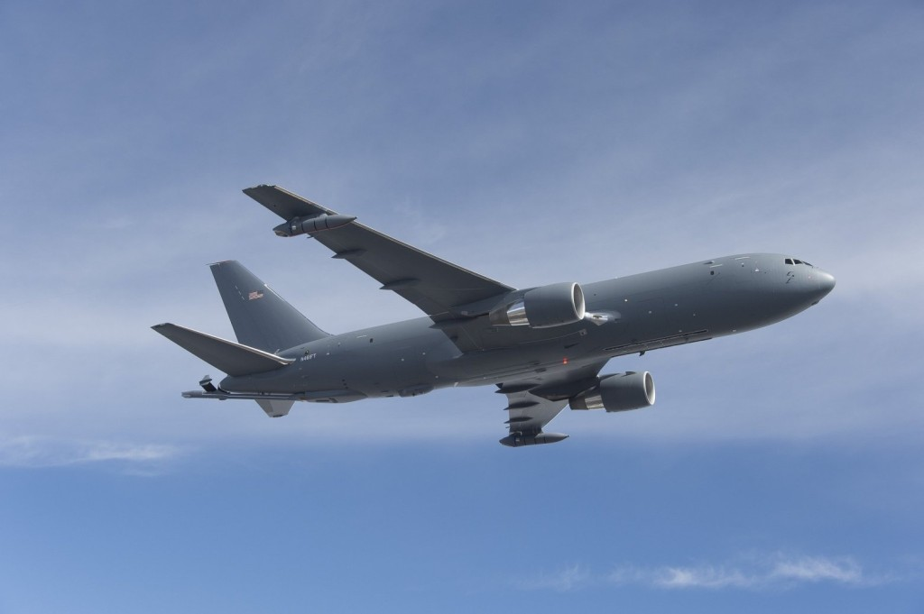 Boeing said its Air Force tanker prototype completed a 4.3-hour flight on June 2, 2015, with a refueling boom and wing refueling pods installed, although that equipment was not functional (By: John D. Parker/John D. Parker/Boeing)