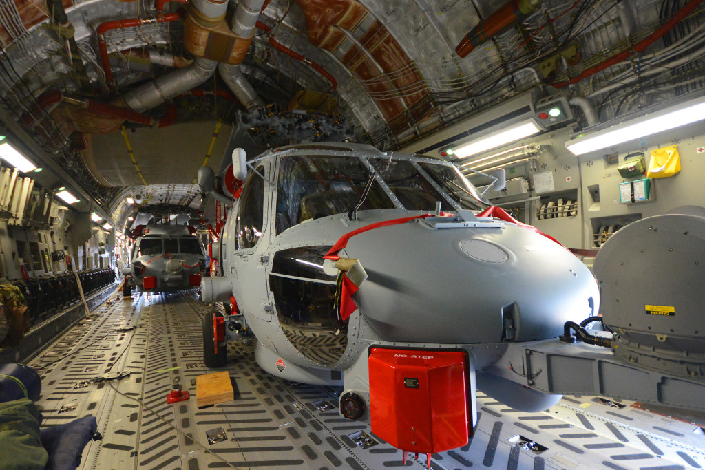 Two more MH-60R Seahawk helicopters inside a RAAF C-17 transport aircraft for their delivery to the Royal Australian Navy, which has now received half of the 24 Seahawks it has on order (Naval Air Systems Command photo)