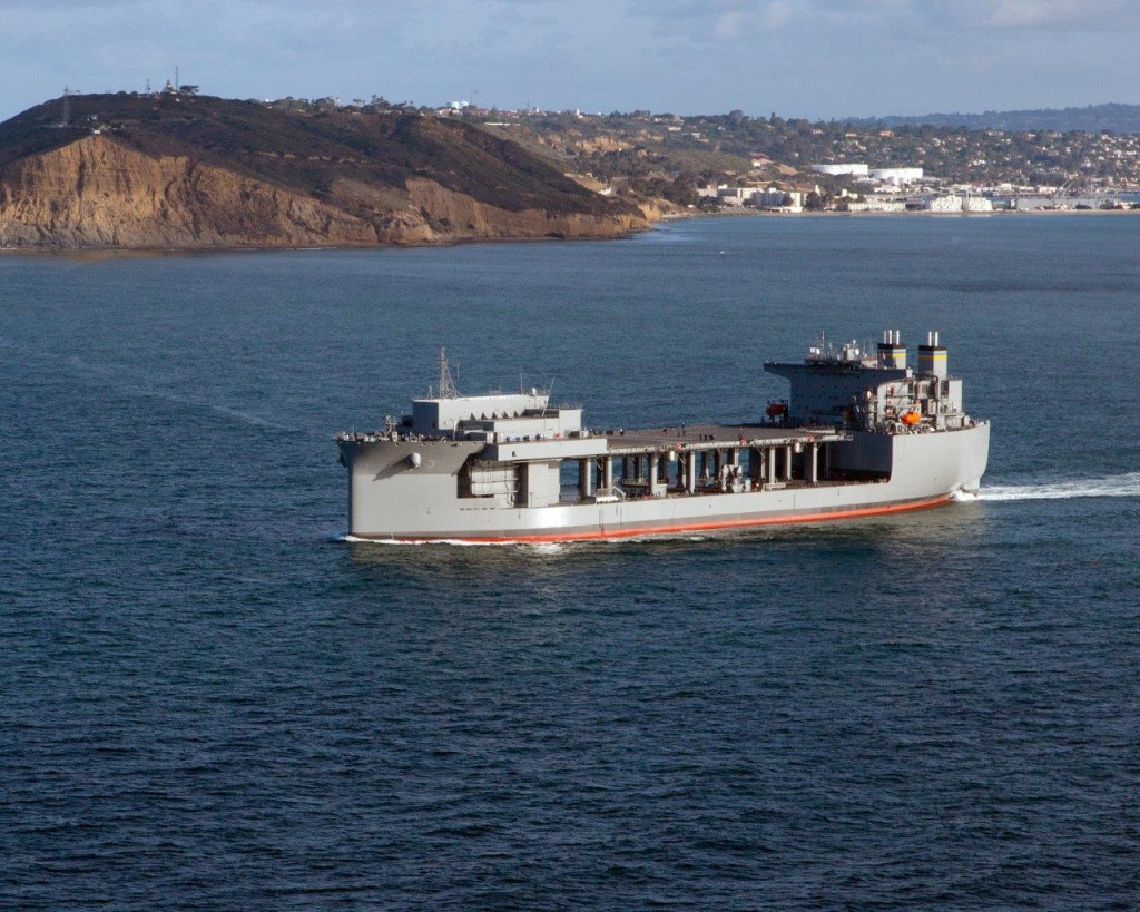 The USNS Lewis B. Puller (MLP-3/AFSB-1) sails past Point Loma during its Builders Trials on April 9th, 2015