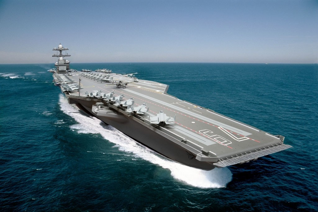 A composite photo illustration representing the Ford-class aircraft carrier, USS John F. Kennedy (CVN-79)