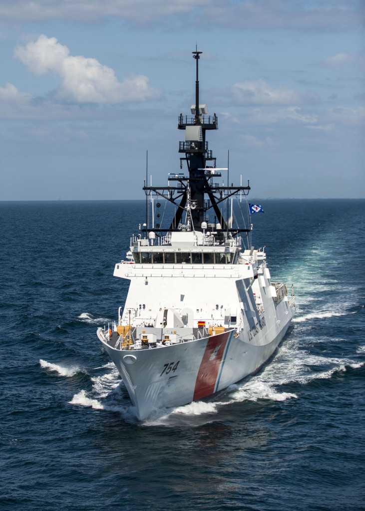 The fifth U.S. Coast Guard NSC, James (WMSL 754), has successfully completed acceptance trials in early May 2015. The Ingalls-built NSC spent two full days in the Gulf of Mexico proving the ship's systems (Photo by Lance Davis/HII)