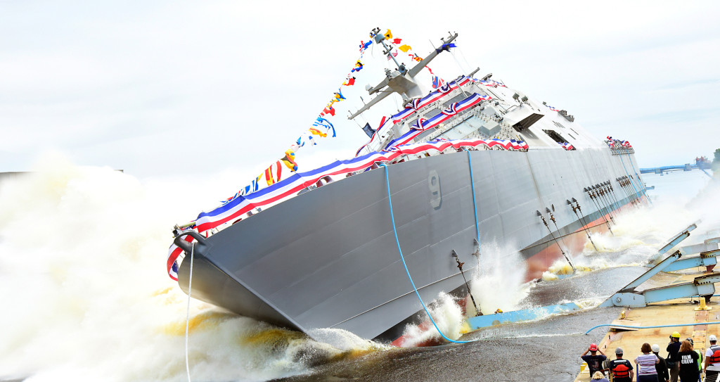The ninth Littoral Combat Ship, the future USS Little Rock (LCS-9), was christened and launched into the Menominee River in Marinette, Wisconsin, on July 18