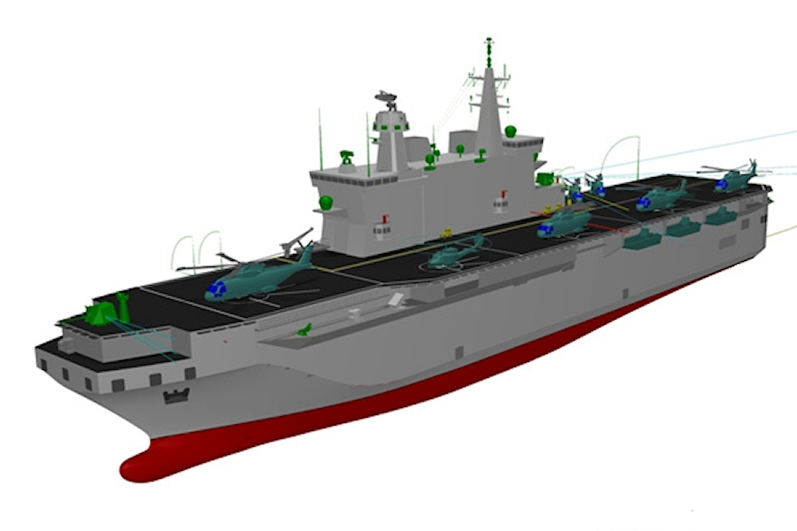 A computer-generated image of the Italian Navy's future LHD, which is expected to displace about 20,000 tonnes