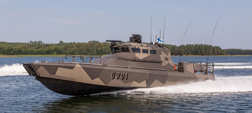 The Finnish navy has publicly unveiled its new Jehu-class of 200-tonne combat/landing boats, the first three of which were handed over in June (Finnish Armed Forces photo)