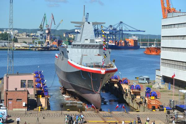 Minister Siemoniak launched and christened the ORP Ślązak (Silesian) patrol boat at the Naval Shipyard in Gdynia