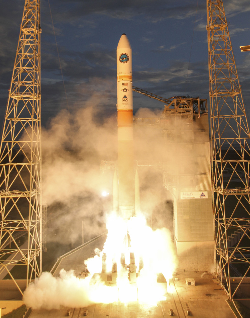 A Delta IV rocket lifts off carrying the seventh Wideband Global SATCOM satellite for the U.S. Air Force