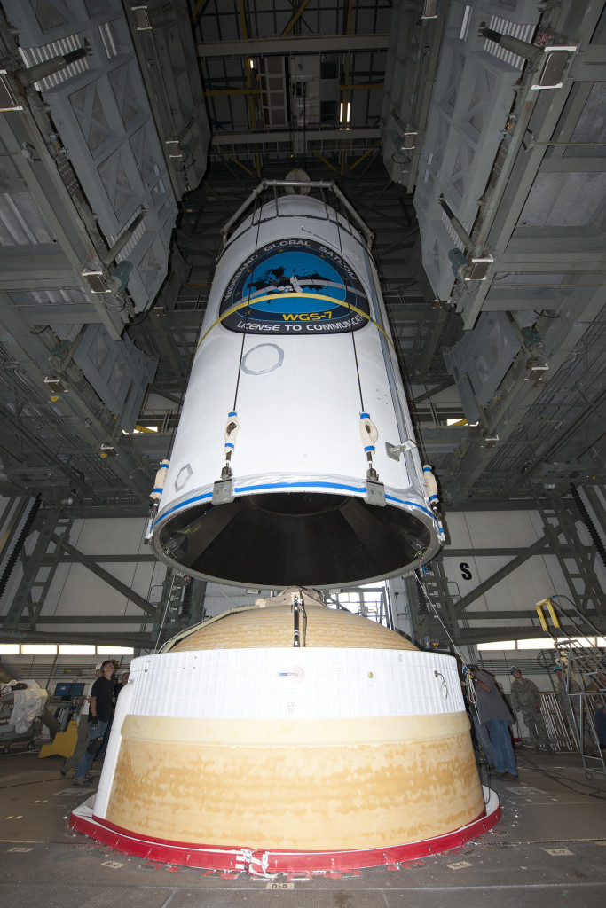 The Air Force's seventh Wideband Global SATCOM satellite, encapsulated inside a 5-meter payload fairing, is mated to a Delta IV rocket at Space Launch Complex-37