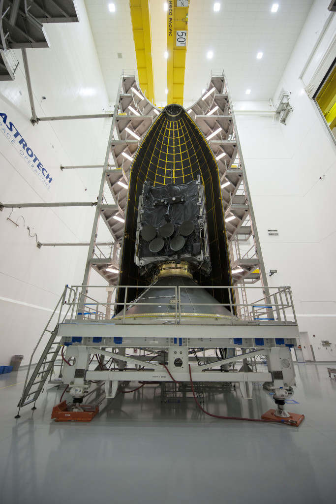 The Air Force's seventh Wideband Global SATCOM satellite is encapsulated inside a Delta IV 5-meter payload fairing