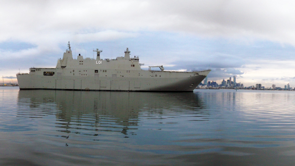 Having completed its sea trials, the future HMAS Adelaide (L01) will now be handed over to the Department of Defence's CASG while its future crew works up (AUS DoD photo)