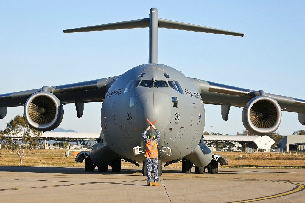 Arrival of the seventh Royal Australian Air Force C-17A Globemaster III at RAAF Base Amberley