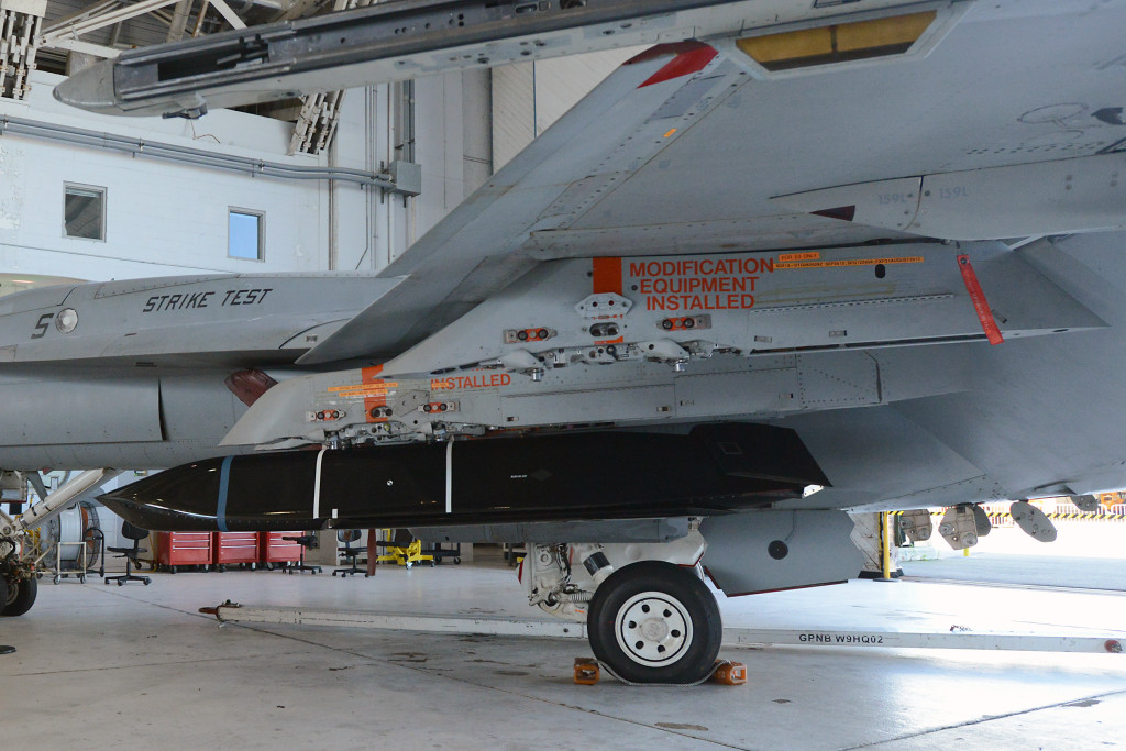 Initial fit checks are conducted on the LRASM on August 12 at NAS Patuxent River's Air Test and Evaluation Squadron (VX) 23 facility in preparation for the first phase of airworthiness testing with the F/A-18 E/F (U.S. Navy photo)