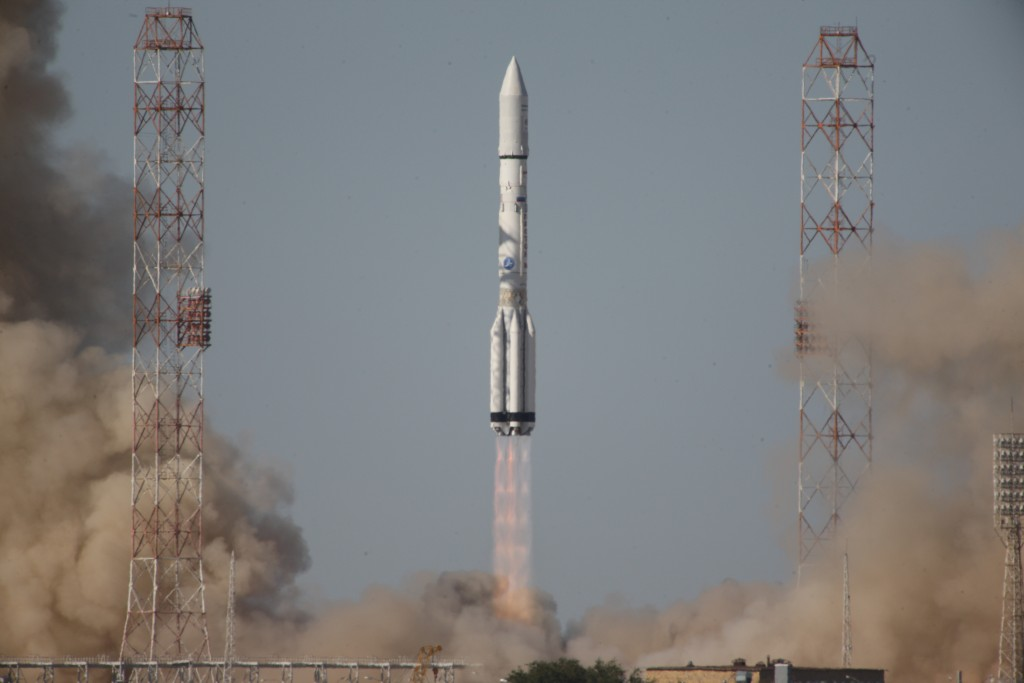 The Inmarsat-5 F3 satellite launched Friday aboard an International Launch Services (ILS) Proton Breeze M rocket from Baikonur, Kazakhstan (ILS Photo)