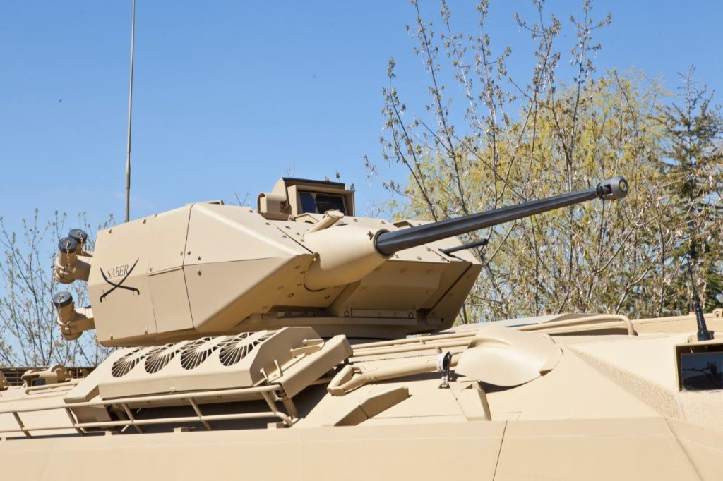 Saber turret incorporates the latest technologies in turret drives, fire control, protection and lethality