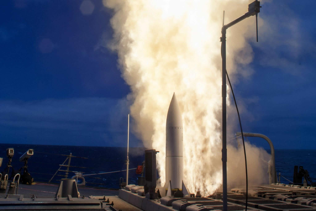 The USS John Paul Jones (DDG-53) used a Standard Missile-6 to destroy a supersonic high altitude target drone in live fire tests
