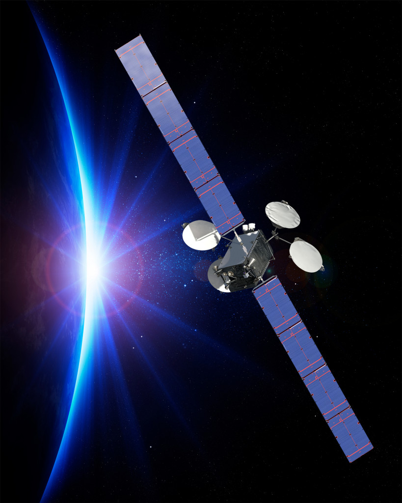 An artists' rendering of ABS-3A on-orbit and operating in space (Boeing photo)
