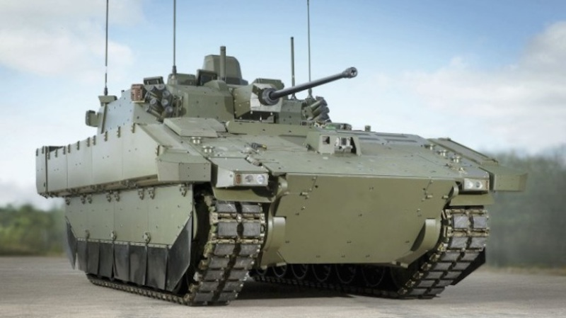 AJAX, the new name for the British Army's Scout SV reconnaissance vehicle, was unveiled at the DSEI show in London fitted with its new Lockheed Martin 40-mm turret (GD UK image)