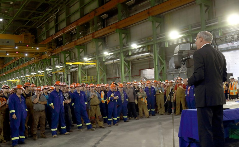 Kevin McCoy, President of Irving Shipbuilding and hundreds of employees at the Halifax Shipyard mark the start of production of the first Arctic Offshore Patrol Ship on September 1