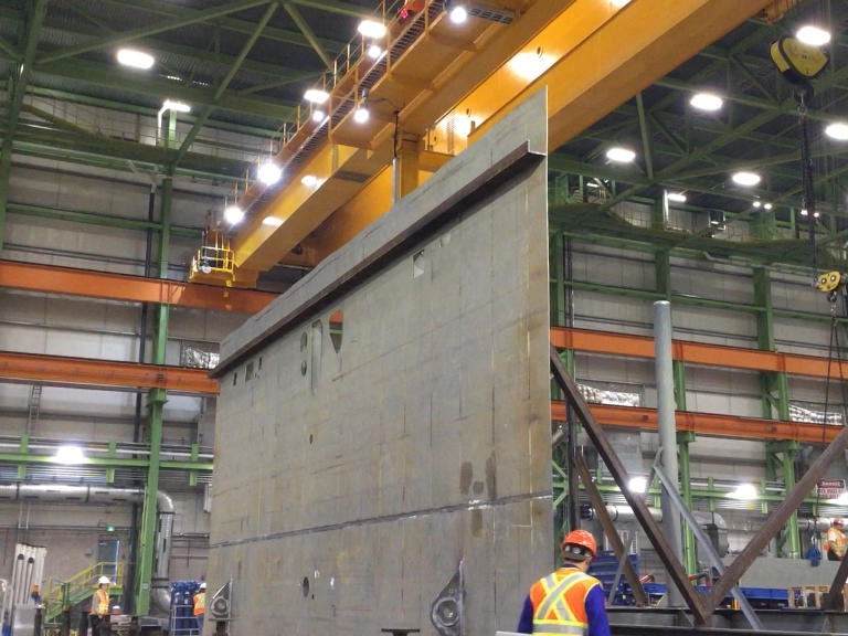 Centre section component of first AOPS ship underway at Halifax Shipyard
